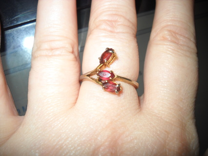 Real Garnet,gold-plated ring