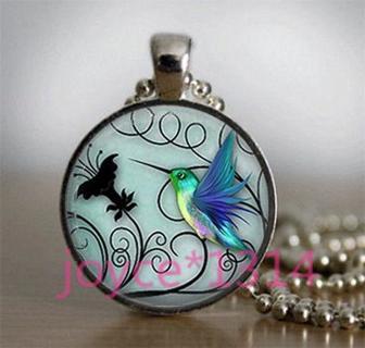 Vintage hummingbird Cabochon Tibetan silver Glass Chain Pendant Necklace #3410