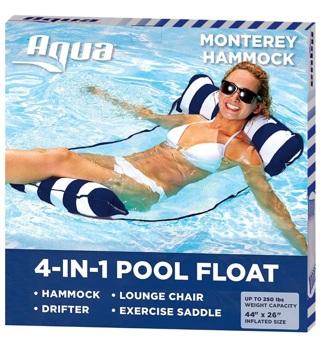 Aqua 4-in-1 Monterey Hammock Inflatable Pool Float, Multi-Purpose Pool Hammock Navy/White Stripe
