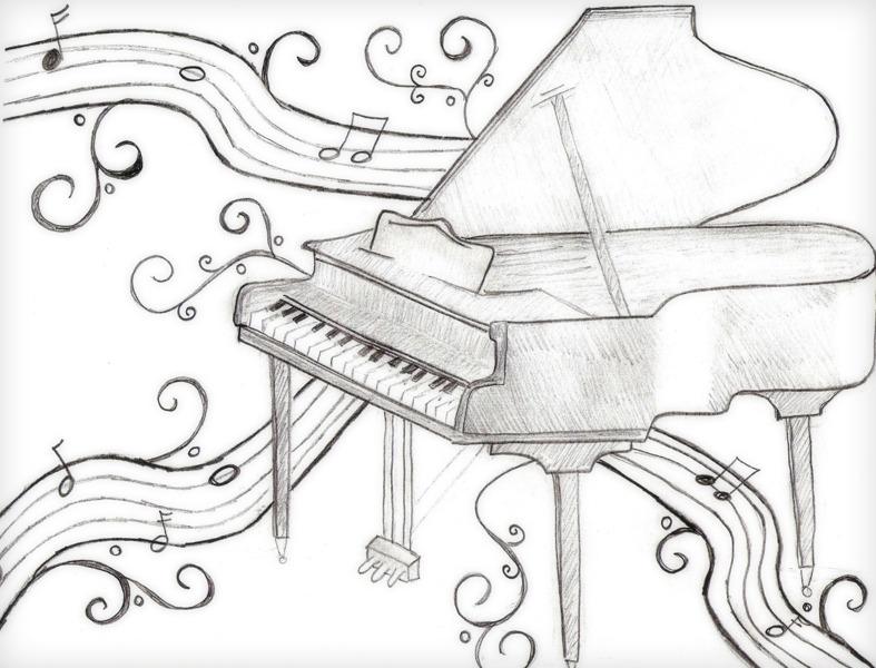 Фортепиано картинки карандашом