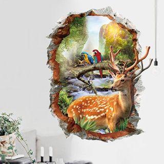 Parrot Deer 3D Wall Sticker Removable Vinyl Decal Art Mural DIY Home Room Decor