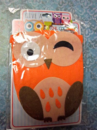 """NEW - Cute GIVE A HOOT Orange/Brown  Felt Owl Coin Purse on Satiny 14"""" Drop Cord FREE SHIPPING"""