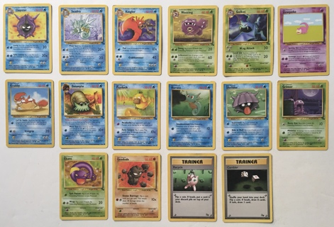 Pokemon Fossil Set Non-Holo Uncommon and Common Trading Cards Lot of 16