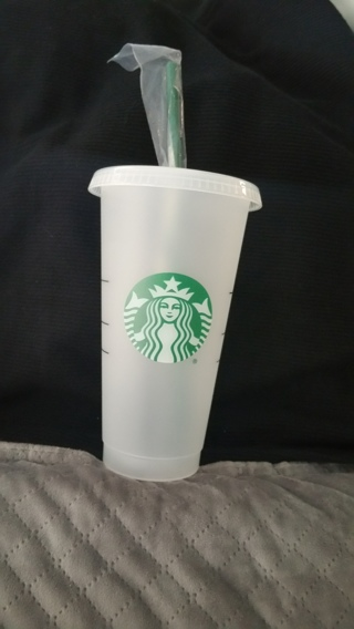 New Starbucks Vente Cup, Lid, & Straw (Bonus $5 Starbucks Gift Card, included too W/GIN) Free S/H