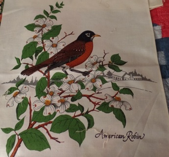 American Robin Fabric Block to Quilt and/or Frame, 100% Cotton, 10-1/2 x 12 - APA-114