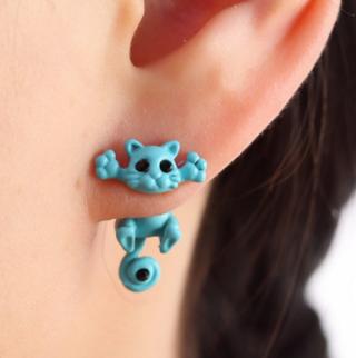 Polymer Clay Cute White Rabbit Stud Earrings Cartoon 3d Animal Earring Brincos