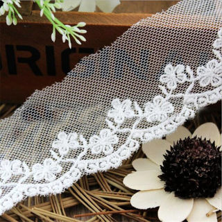 1 Yard Lace Trim Embroidered Cotton Mesh Bridal Dress Applique Craft Sewing DIY