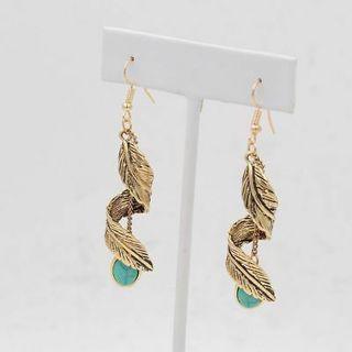 Tassel Leaf Turquoise Earrings Ethnic Natural Stone