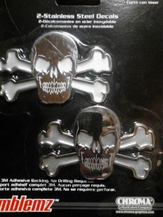 Skull and Cross Bones Stainless Steel Decals