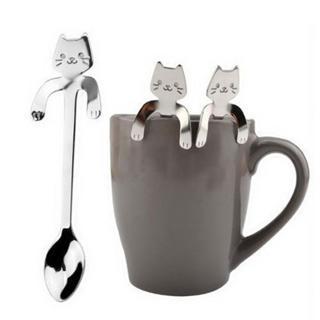 Mounchain Cute Cartoon Cat Stainless Steel Handle Hanging Tea Coffee Spoon Ice Cream