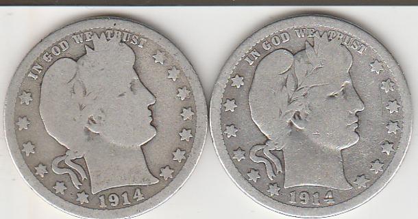1914 Silver Barber Quarters 1914-D