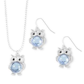 March Birthstone OWL Charms Necklace and French Hook Earrings Set!!
