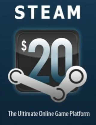Valve Steam Wallet $20.00 Cash Code Store Credit Code DIGITAL DELIVERY XNK $20 GAMES DLC ETC