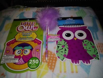 ✨✳️✨BRAND NEW LITTLE OWL STICKER BOOK & MEMO PAD+BONUS POM-POM INK PEN✨✳️✨