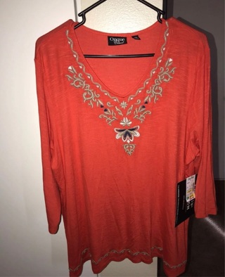 Embroidered XL Women's Blouse NWT