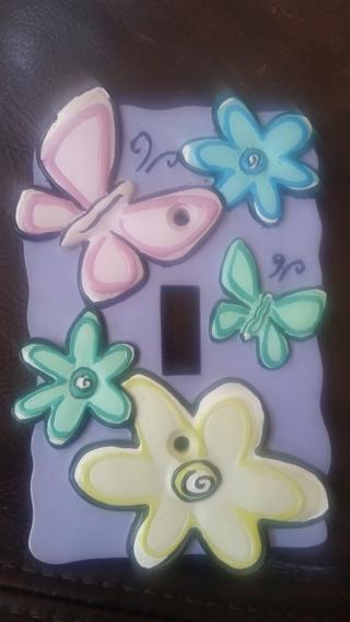 Girl's flowers butterflies light switch cover