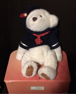 Brass button Bear, Is a good size for any child for a sleep hug.