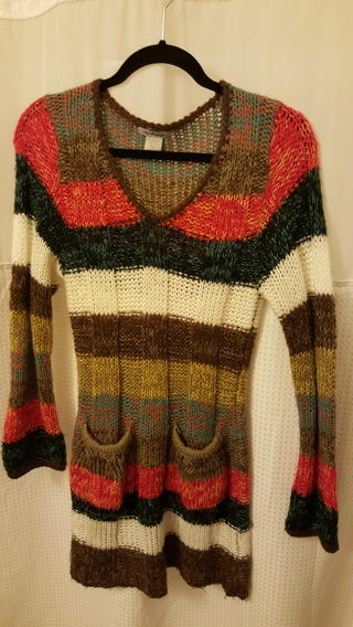 Ladies Colorful fuzzy sweater Size M/L