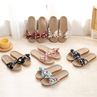 New Summer Indoor Shoes Home Slipper Woman Man Open Toe Linen