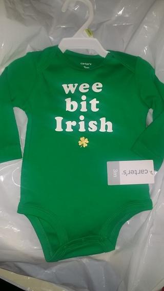 "BNWT Carter's ""Wee Bit Irish"" Shirt with Snaps (Size 3M) / ***Surprise Bonus wGIN***Free Shipping"