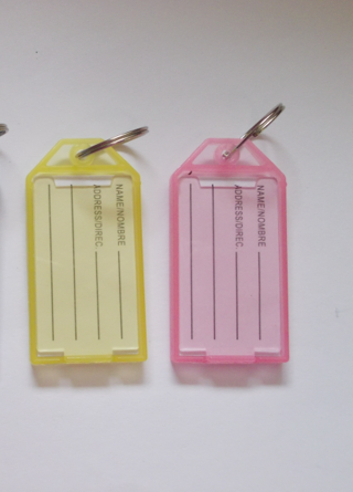 Pink & Yellow Plastic Luggage Name ID Tags Keychains