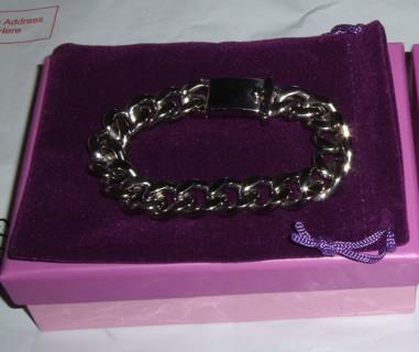 men's curb link stainless steel bracelet 8in