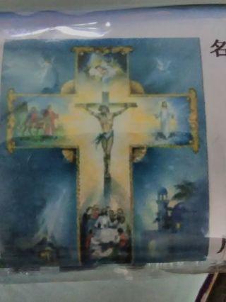 Paint by Diamond set Jesus on the Cross blue background