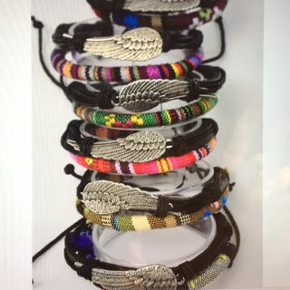 6 Pack Leather Double Strand Angel Bracelet Lot