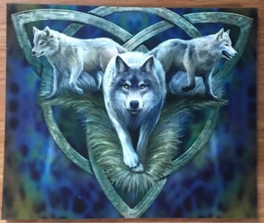 """SILVER WOLF TRIFECTA Celtic - 3 x 4"""" MAGNET"""