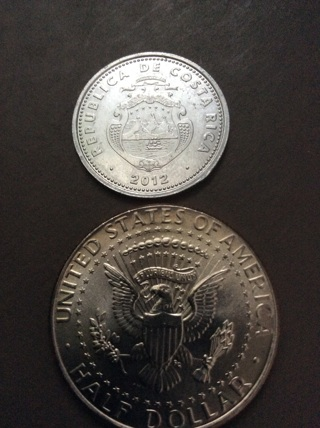 2012 10 colones coin from Costa Rica