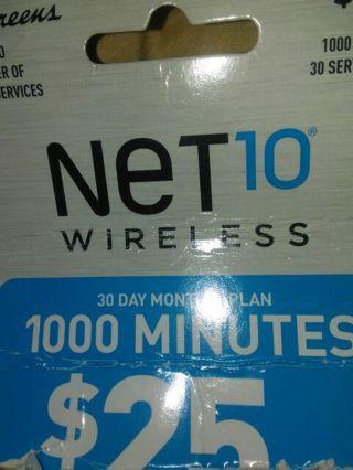 Net 10 25$ prepaid card