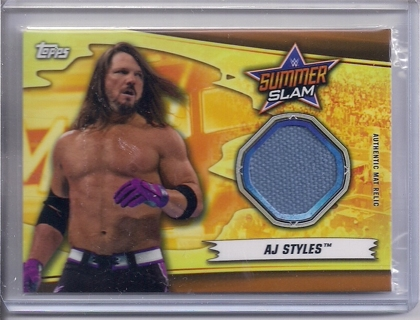 VERY RARE 2019 Topps WWF/WWE AJ Styles Event Used Mat Relic Card #ed 38/99
