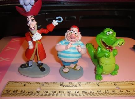 Set Of 3 Disneys Peter Pan PVC Toys Captain Hook Mr Smee And