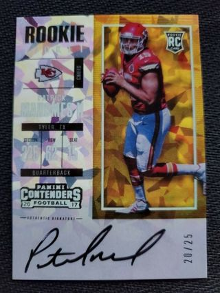 2017 Patrick Mahomes II Autograph RC Cracked Ice RP #d 20/25 Panini Contenders