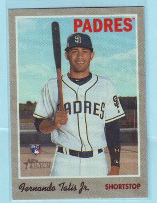 2019 Topps Heritage Cloth Sticker High Number Fernando Tatis Jr. ROOKIE Card