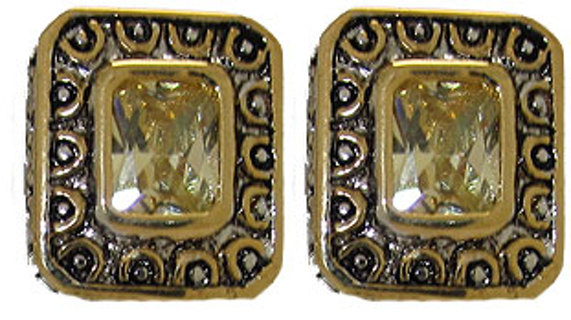 CZ CABLE EARRINGS 18 KARAT GOLD Your Color Choice NEW BOXED