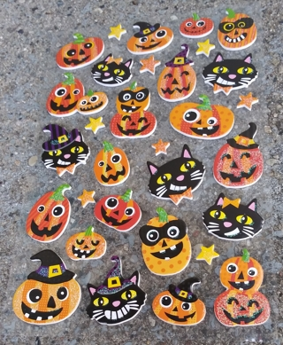 HALLOWEEN PUMPKIN AND BLACK CAT FOAM RUBBER STICKERS