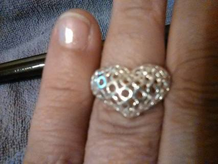 PUFFED HEART RING SIZE 7.5  NEW stamped .925