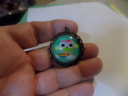glass domed pendant charm Owl and a rainbow on brass mounting