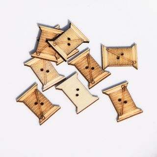 40Pcs Natural Color Wooden Buttons Coil Shape Garment Sewing Scrapbooking 24mm