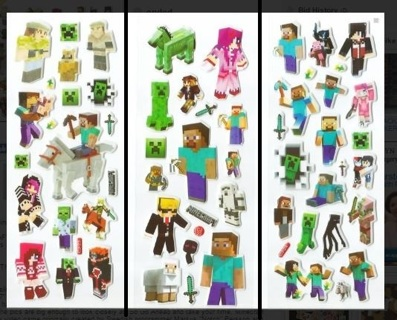 1 lot New Value Pack~ NEW MINECRAFT Pop Up Stickers Super Cute!...Winner Gets 3 Sets! FREE SHIPPING
