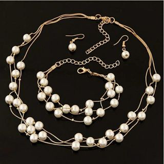 New Imitation Pearl Women Necklaces with Chian Fashion Multilayer Necklaces Jewelry