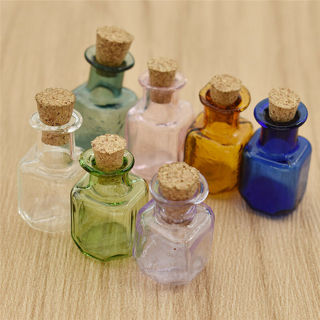 7Pcs Colors Mini Glass Oil Bottles Cute Perfume Container Refillable Gift