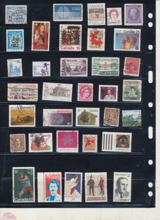 (30 + 5 Bonus) Stamps from Canada,  All Different, Vintage, Used, Cancelled - CAN-112