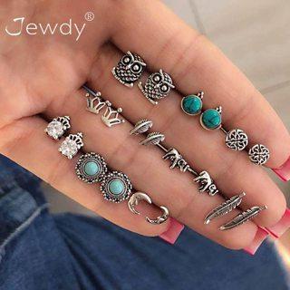 10 Pairs/Set Women Crystal Crown Elephant Owl Moon Bohemian Earring Stud Earrings for Women Boucle