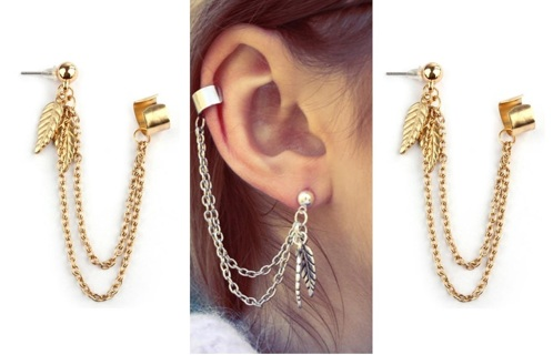 NEW Ear Cuffs Chain Tassel Dangle Ear Jewelry 2PCS Set FREE SHIPPING