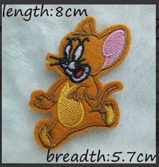 Tom & Jerry Mouse Patch IRON ON Patch Clothing accessories Embroidery Applique Decoration