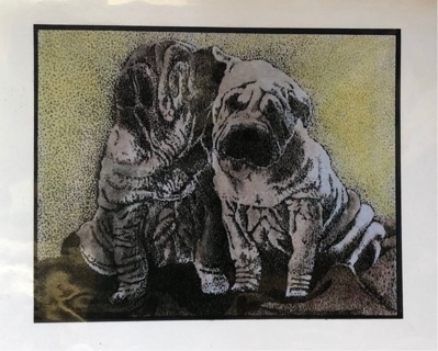 "Sharpie Pups - 5 x 7"" Art Card by Nina - GIN ONLY"