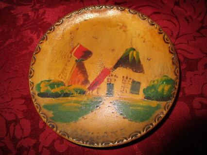 old vintage wooden plate