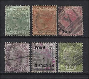 Early Ceylon Queen Victoria stamps (6), U/F-VF